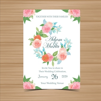 Floral wedding invitation with beautiful flower