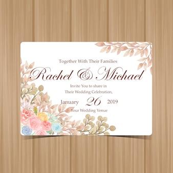 아름 다운 꽃으로 꽃 결혼 초대장