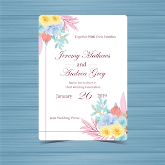 Floral wedding invitation with beautiful flowers