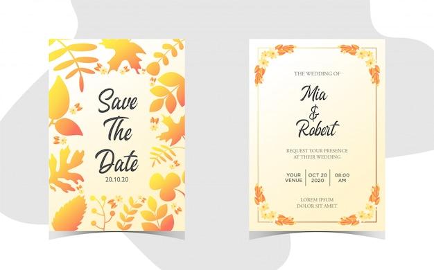 아름 다운 그라데이션으로 꽃 결혼 초대장