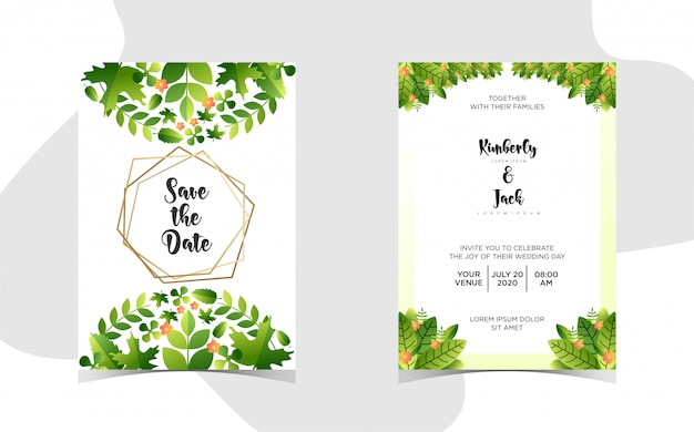 Floral wedding invitation with beautiful gradient