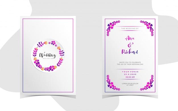 美しいグラデーションで花の結婚式の招待状
