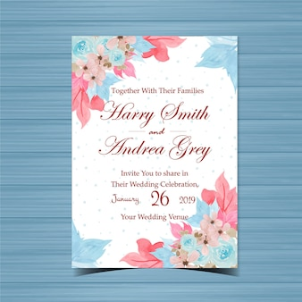 Floral Wedding Invitation with Beautiful Hand Painted Blue Roses