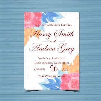 Цветочные приглашение на свадьбу с красивым розовым цветком