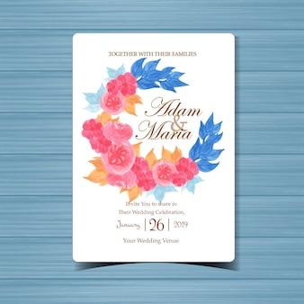 아름 다운 핑크색 꽃과 꽃 결혼 초대장 프리미엄 벡터