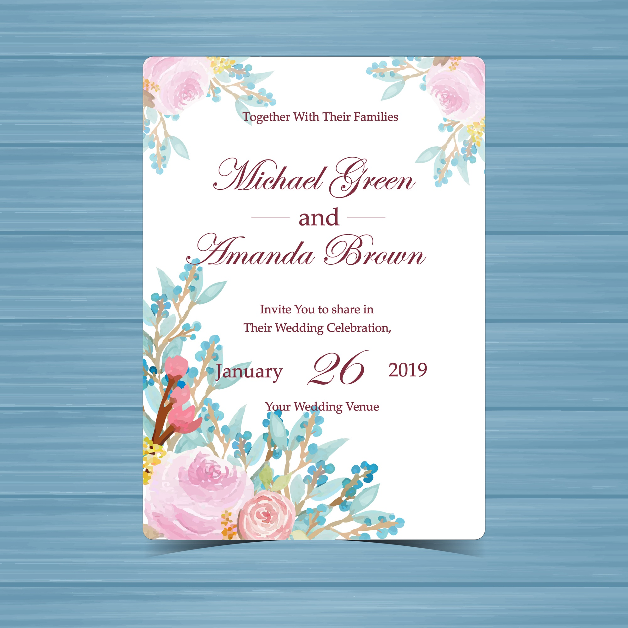 Floral Wedding Invitation with Beautiful Pink Roses