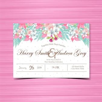 Цветочные приглашение на свадьбу с красивыми розовыми розами