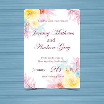 美しいバラと花嫁の結婚式の招待状