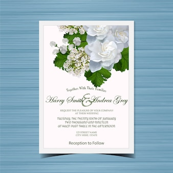 Floral wedding invitation with beautiful white flowers