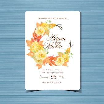 아름 다운 노란 장미와 꽃 결혼 초대장 프리미엄 벡터