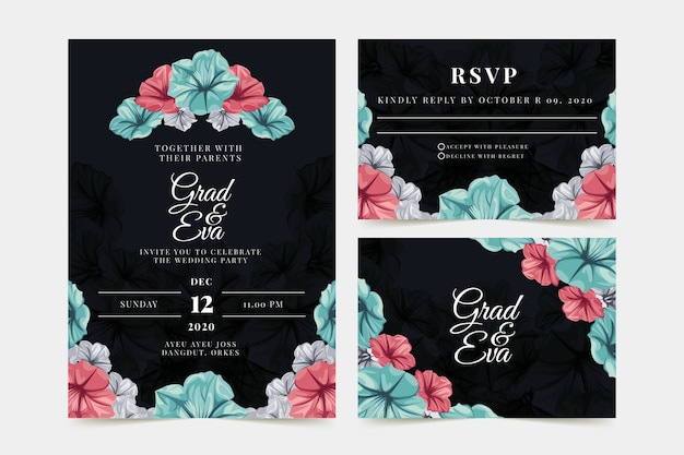 Floral wedding invitation with black background