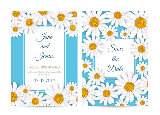 Floral wedding invitation with blooming tulip