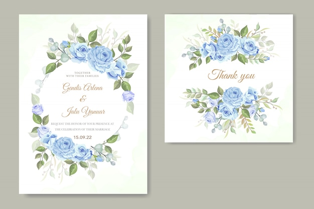 Floral wedding invitation with blue roses