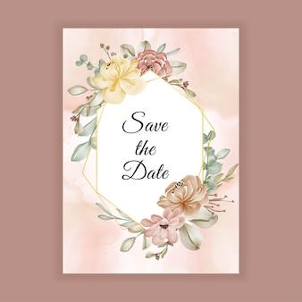 Цветочное свадебное приглашение с коричневым карамельным цветочным оформлением