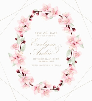 Floral wedding invitation with cherry blossoms