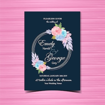 Floral wedding invitation with colorful flower frame