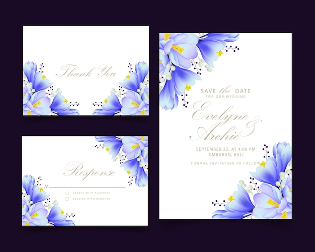 Floral wedding invitation with crocus flowers