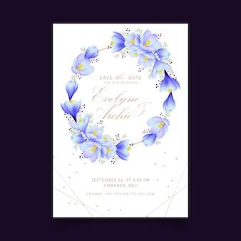 Floral wedding invitation with crocus flowers