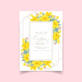 Floral wedding invitation with daffodils flower