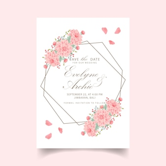 Floral wedding invitation with dahlia flower