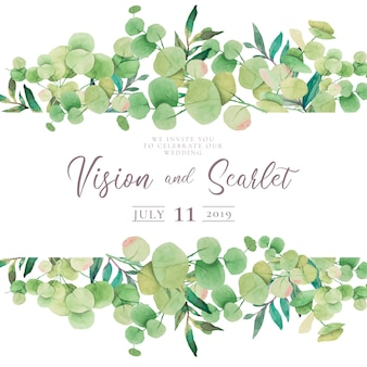 Floral Wedding Invitation with Eucalypt Leaves