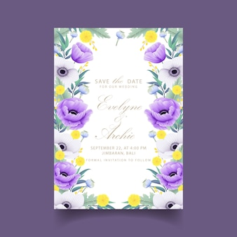 Floral wedding invitation with eucalyptus, poppy, anemone  and craspedia flower