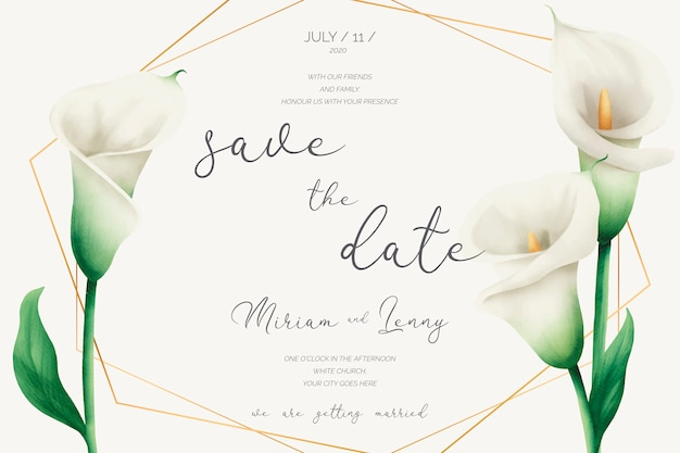 Floral wedding invitation with golden frame and lilies