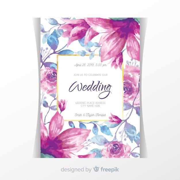 Free Floral Wedding Invitation With Golden Frame Svg Dxf Eps