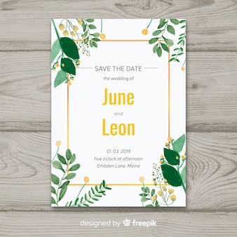 Floral wedding invitation with golden frame