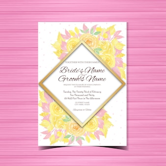 豪華な黄色いバラの花の結婚式の招待状
