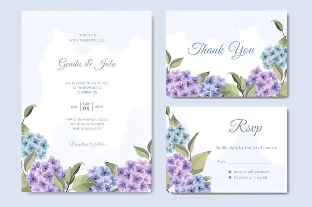アジサイの花と花の結婚式の招待状