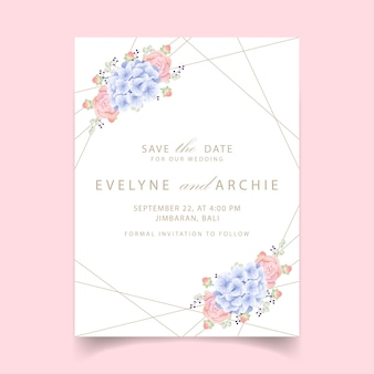 Floral wedding invitation with hydrangea and succulent