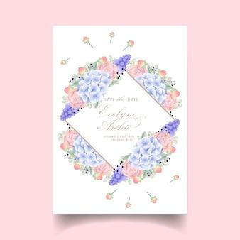 Floral wedding invitation with hydrangea