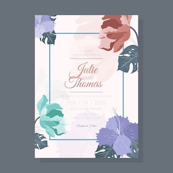 Floral wedding invitation with leaves