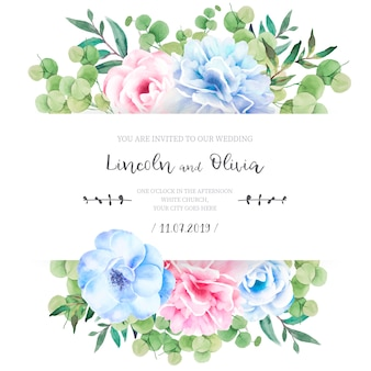 Floral wedding invitation with lovely flowers