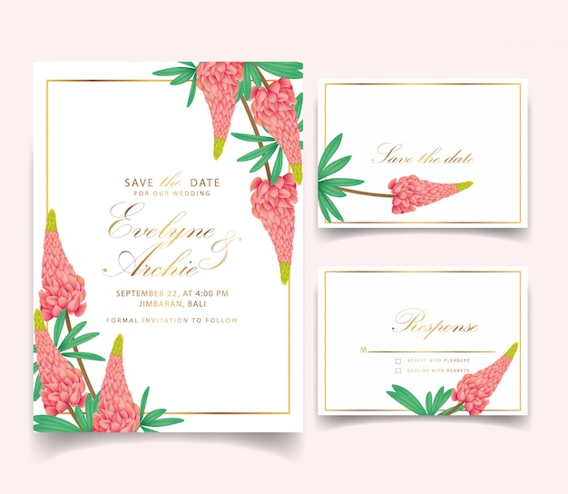 Floral wedding invitation with lupine flower