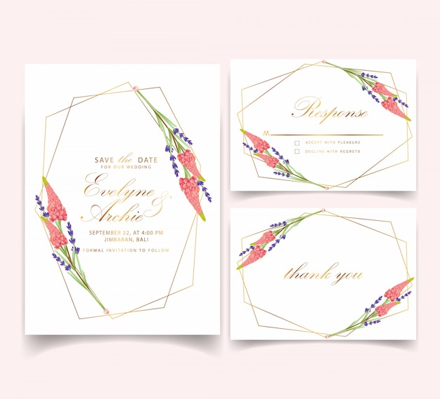 Floral wedding invitation with lupine and lavender flower
