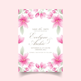 Floral wedding invitation with magnolia flowers