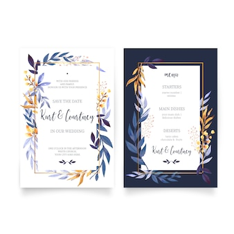Floral Wedding Invitation with Menu Template