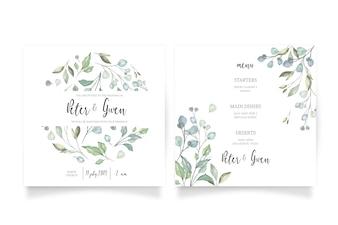 Цветочное свадебное приглашение с меню
