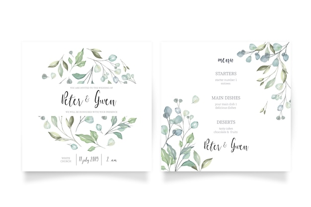 Floral wedding invitation with menu