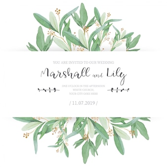 Floral wedding invitation with ornamental leaves