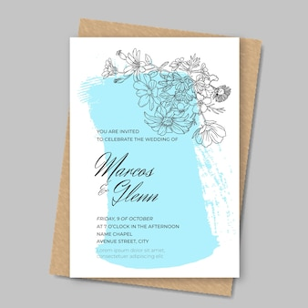 Floral wedding invitation with paint