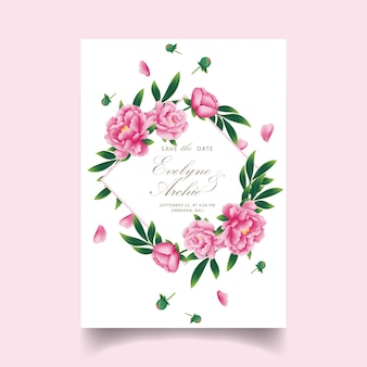 Floral wedding invitation with peony flower