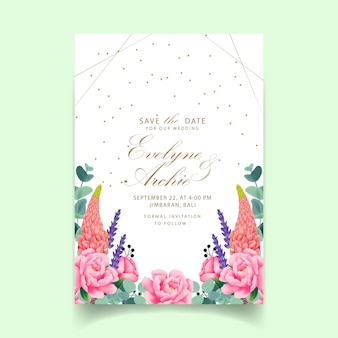 Floral wedding invitation  with peony, lavender, lupine and eucalyptus