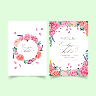 Floral wedding invitation  with peony, ranunculus, lavender, lupine and eucalyptus