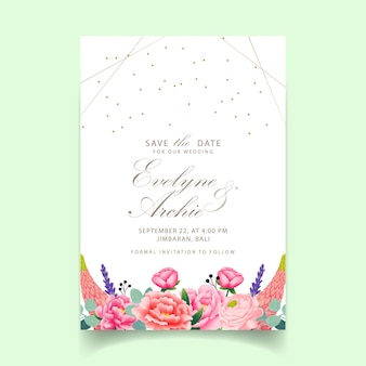 Floral wedding invitation  with peony, ranunculus, lavender, lupine and eucalyptus