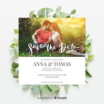 Floral wedding invitation with photo