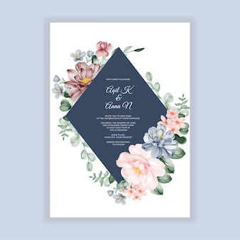 Floral wedding invitation with pink blue and burgundy flower decoration