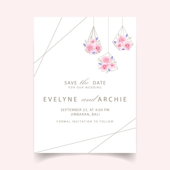 Floral wedding invitation with pink rose and muscari flower